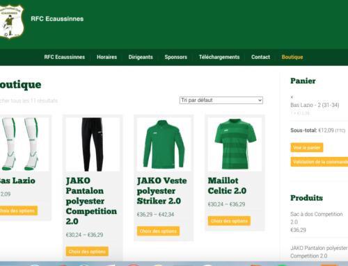 Création boutique en ligne RFC Ecaussinnes